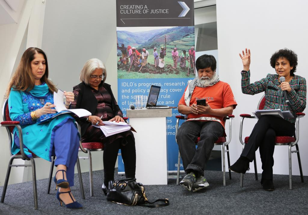 Ilaria Bottigliero, Head of Research & Learning at IDLO, Indira Jaising, first woman Additional Solicitor General, India, Chairman, Majority World Photo Agency, and Irene Khan, Director-General of IDLO