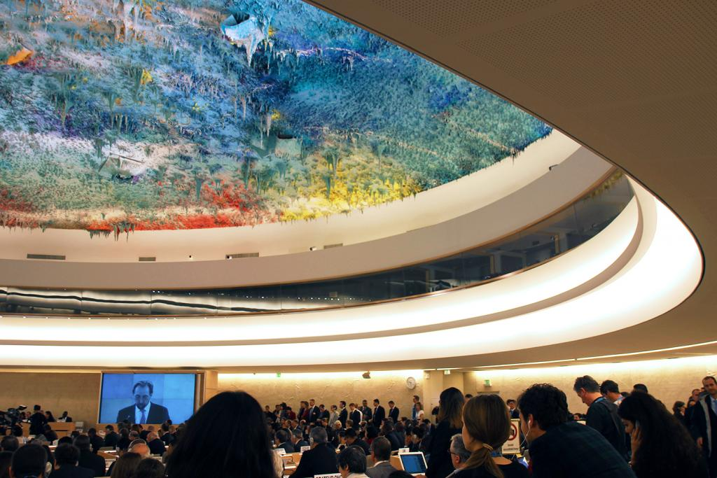 The Human Rights and Alliance of Civilizations Room is one of the largest conference rooms at the United Nations Office at Geneva (UNOG). The main feature of the refurbished room is a ceiling sculpture by the prominent contemporary Spanish artist Miquel Barceló.